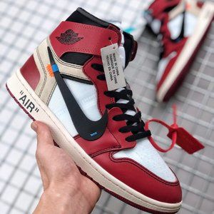 Air Jordan 1 X OFF-WHITE white and red joint name